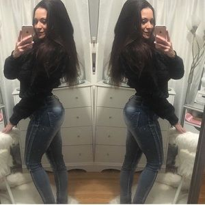 Denim - Distressed look stretch skinny jeans